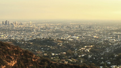 Wide angle of Los Angeles skyline and Hollywood