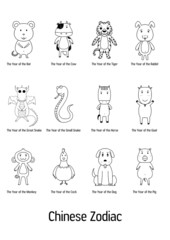 vector of Chinese zodiac signs