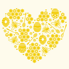 Honey heart. Vector illustration