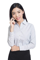 young happy business woman, chinese
