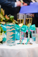 vase with pattern wedding sand ceremony, blue with white