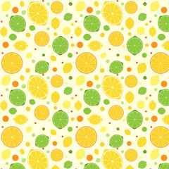 Pattern with lemon, lime and orange