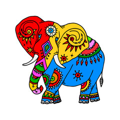 Stylized patterned elephant in Indian style