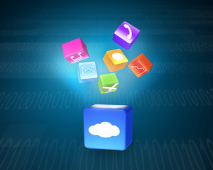 Cloud box illuminated colorful app icons floating on tech backgr