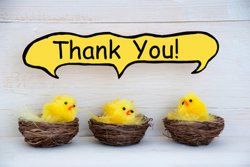 Three Easter Chicks With Comic Speech Balloon Thank You