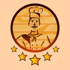 Five star restaurant's chef logo