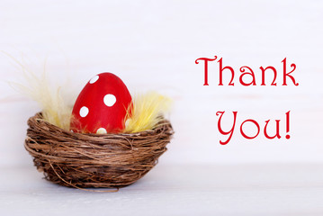 One Red Easter Egg In Nest With Thank You