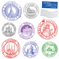Grunge Vector Monument Stamps