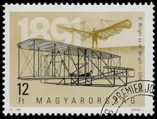 Stamp printed in Hungary shows 100th Anniversary of Airplanes