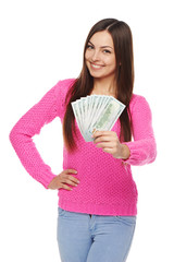 Woman giving you us dollar money