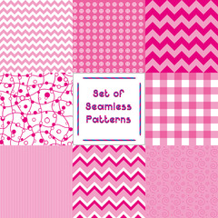 Set of abstract seamless backgrounds with pink pattern