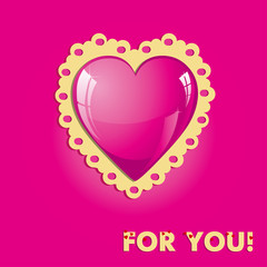 Valentine card with pink heart, vector illustration