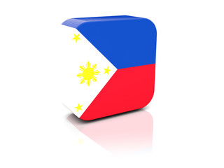 Square icon with flag of philippines