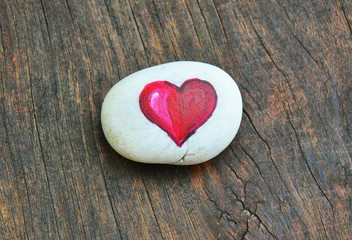 heart painted on stone