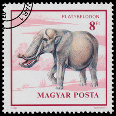 Stamp printed in Hungary shows Prehistoric Animal