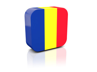 Square icon with flag of romania