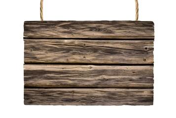 Holzschild hängend auf weiß isoliert