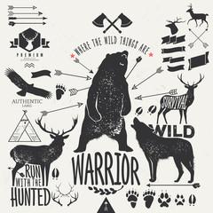 wild animals - vintage labels