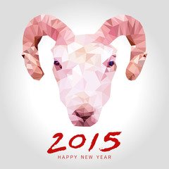 happy goat year polygon vector