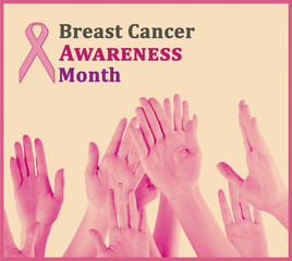 Hands on beige background, Breast Cancer Awareness Month