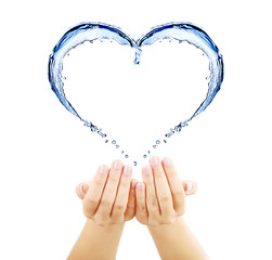 Water splashing shaped as heart frame in hands isolated on