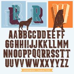 retro handmade alfabet for premium signs