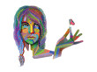 Woman with colorful texture vector on white