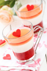 Valentine's day dessert Panna cotta with strawberry mousse