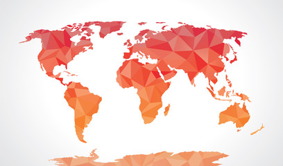 Red polygonal world map vector