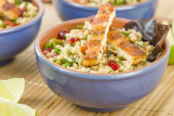 Grilled Halloumi and Tabbouleh Salad