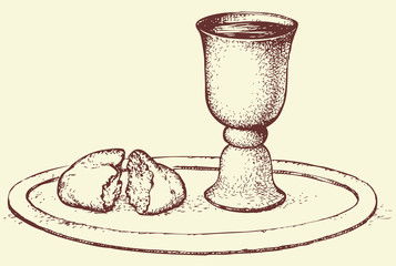 Vector symbol of Communion: bread and wine in bowl