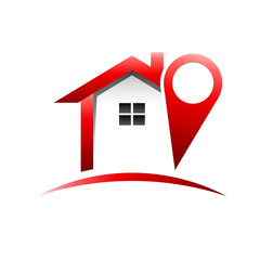 Red Pinned House logo