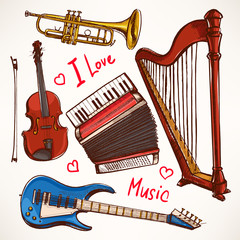 Set with hand-drawn Musical instruments