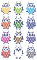 Set ow coloued owls