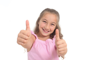 happy girl showing thumbs up