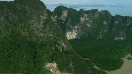 Aerial view Phang Nga Bay Marine National Park, Thailand