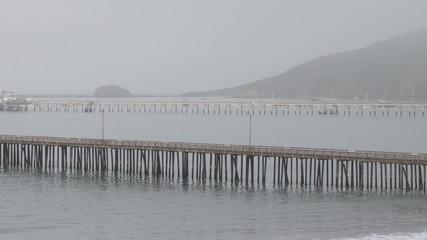 Foggy Pier in Bay Timelapse