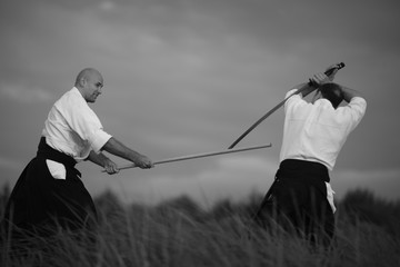 Aikido practicioners training with wooden staff outdoors