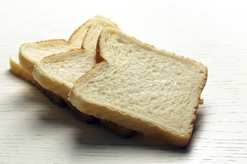 Sliced toast bread on a surface of a table