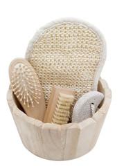 Massagebox mit Bürste, Bimsschwamm, Massageschwamm, Haarbürste