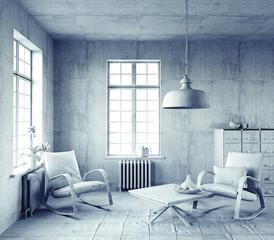 gray  interior.  (3d concept)