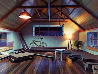 noose in the attic.  (3d concept)