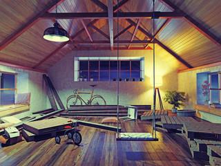 old attic interior  (3d concept)