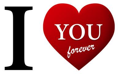 je t'aime cœur rouge amour anglais pour toujours