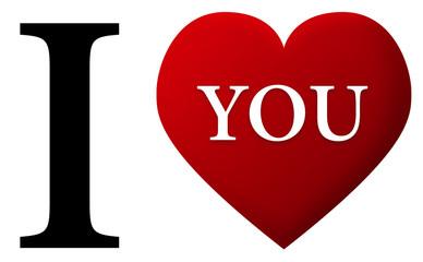 je t'aime cœur rouge amour anglais
