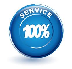 100 pour 100 service sur bouton bleu