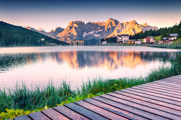 Colorful summer sunrise on the Lake Misurina