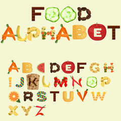 Alphabet made of different food in flat design