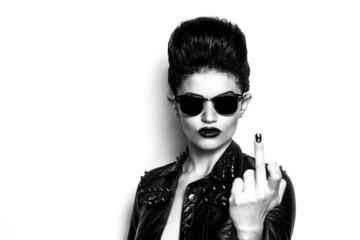 Rocker girl wearing sunglasses black and white