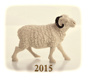 Happy new year 2015 with goat cartoon